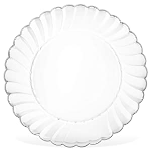 "50 Clear Hard Plastic Plates Set By Oasis Creations - 9"" Clear Round Disposable Plate - Washable and Reusable"