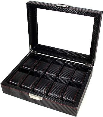 Caja para Guardar Relojes de Fibra de Carbono. Organizador de Relojes con 10 Compartimentos de Almacenamiento. Joyero relojero en Elegante Acabado de Fibra de Carbono. Estuche para Relojes.: Amazon.es: Relojes