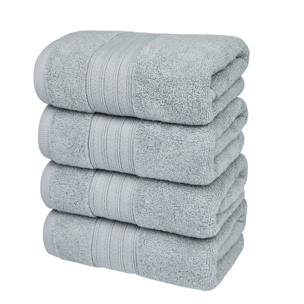 Edeesky Premium Cotton Wash Clothes Towel Set Hotel Quality Bath Cloth Soft Highly Absorbency Home Business Shower Tub Gym Pool Golf Salon Professional Grade Pack of 4 13 x 29 Inch (Grey)