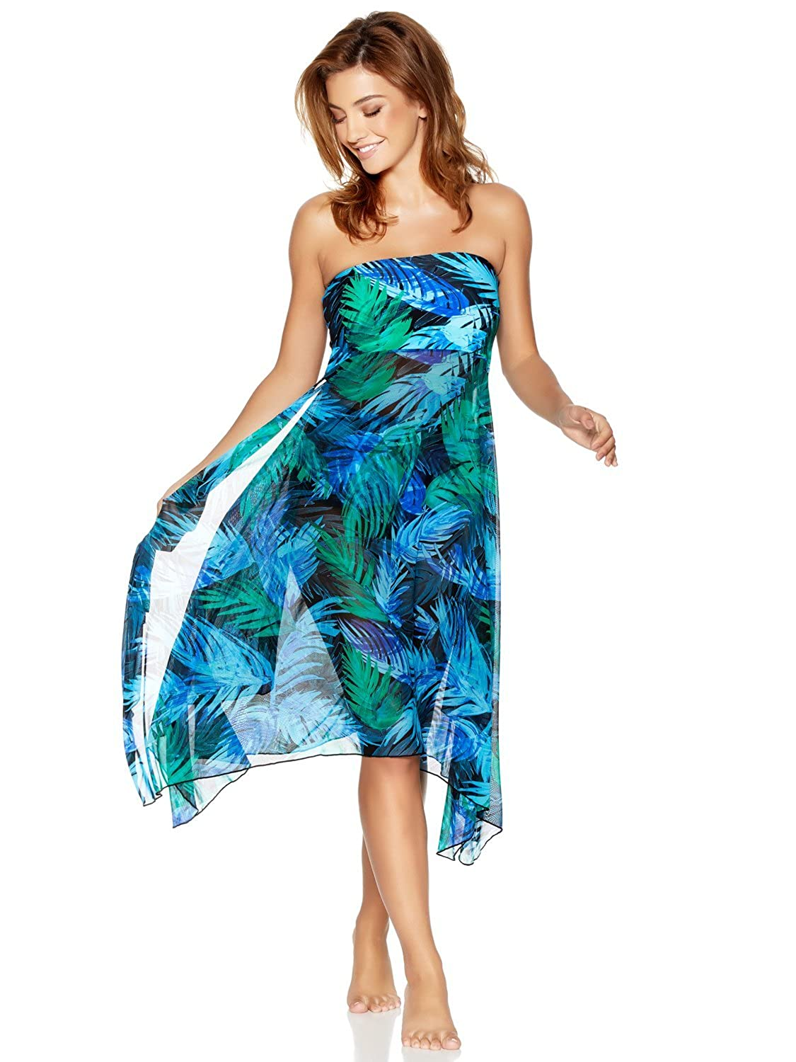 M& Co Ladies Swimwear Blue Palm Print Lightweight Two in One Beach Skirt Dress Cover up
