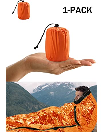 Shayson Saco de Emergencia Dormir,Aislamiento Térmico, Exterior Brillante Naranja Fácil de Localizar Portátil