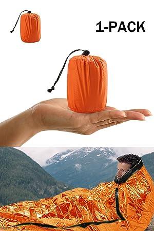Shayson Saco de Emergencia Dormir,Aislamiento Térmico, Exterior Brillante Naranja Fácil de Localizar Portátil,para Acampar Supervivencia Al Aire Libre 1 ...