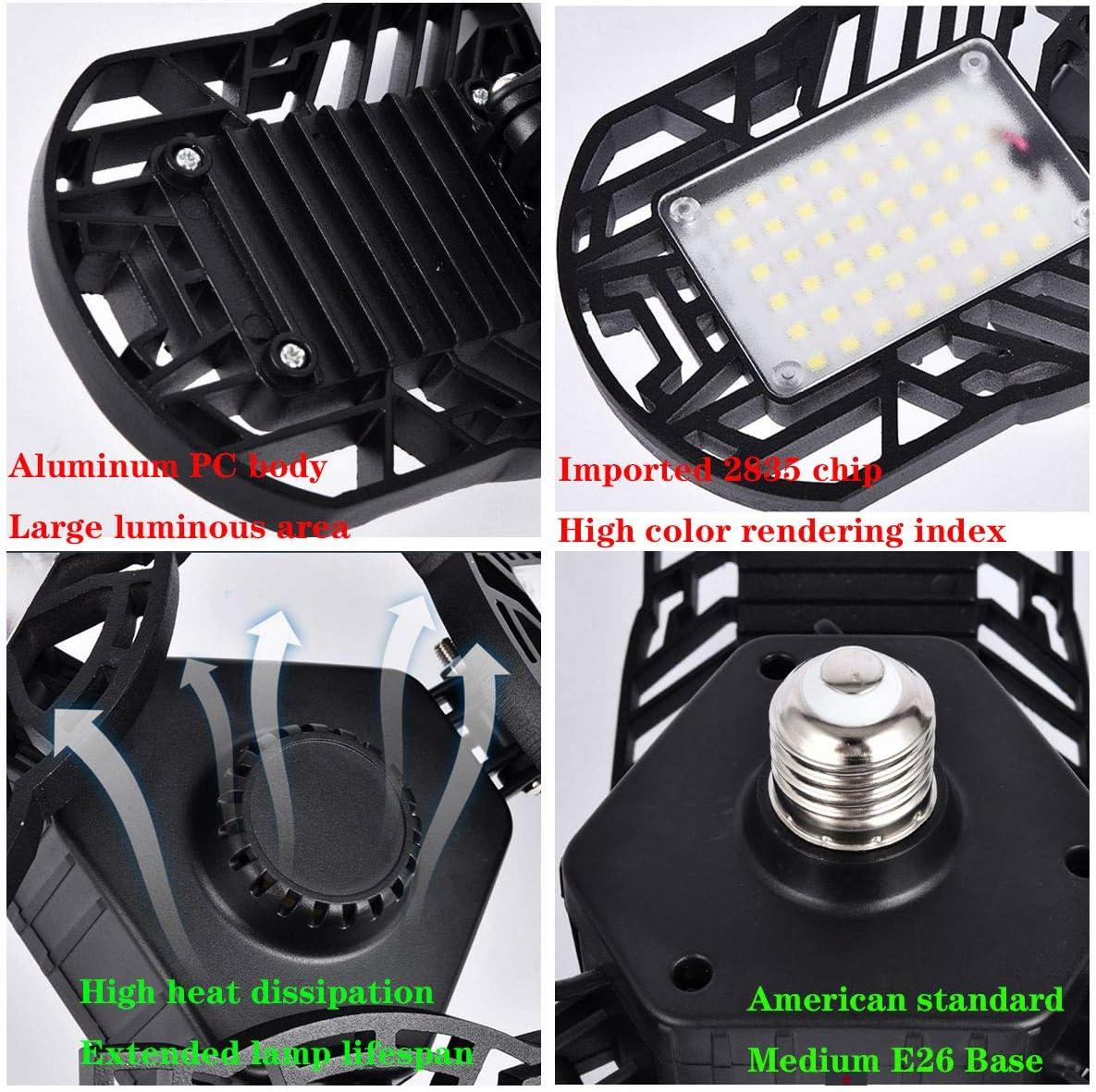 Adjustable Tribrite Garage LED Lights 6000LM LED Light Bulbs Shop Light for Garage with Motion Sensor Garage Lights 60W Motion Activated Trilights Garage Lights Deformable LED Garage Lighting