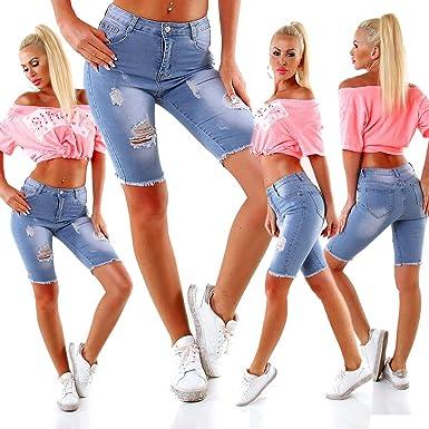 4080 Damen Jeans Bermudas Hose Denim Shorts Haremscut Destroyed Fransensaum