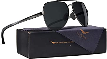 LUENX Mens Aviator Sunglasses Polarized :UV 400 Protection shades with case 60MM