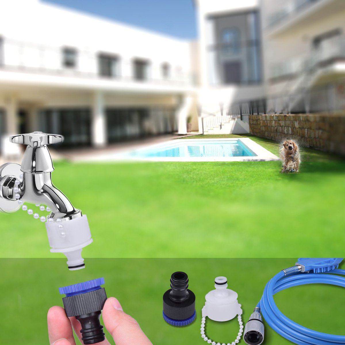 Ducking Pet Shower Sprayer with Brush, Multi-Functional Pet Bathing Tool with ON/OFF Switch for Dog, Cat, Horse Outdoor Grooming, Adjustable handheld Massage with 8 Foot Hose and 2 Hose Adapte by Ducking (Image #4)