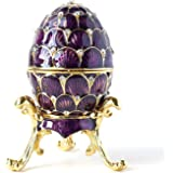 Hand- Painted Vintage Style Faberge Egg with Rich Enamel and Sparkling Rhinestones Jewelry Trinket Box (Purple Scallop Wave)