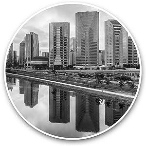 Vinyl Stickers (Set of 2) 15cm Black & White - Sao Paulo Brazil City Buildings Beach Laptop Luggage Tablet #37123