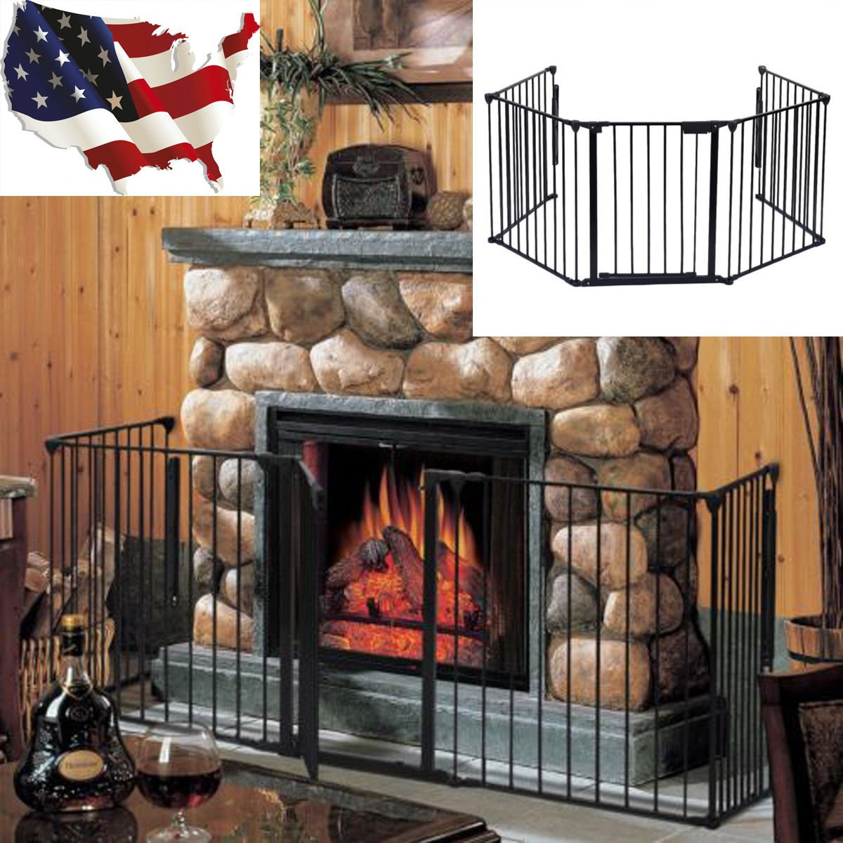 Amazon.com : Fireplace Fence Baby Safety Fence Hearth Gate BBQ Metal Fire Gate Pet Dog Cat : Baby