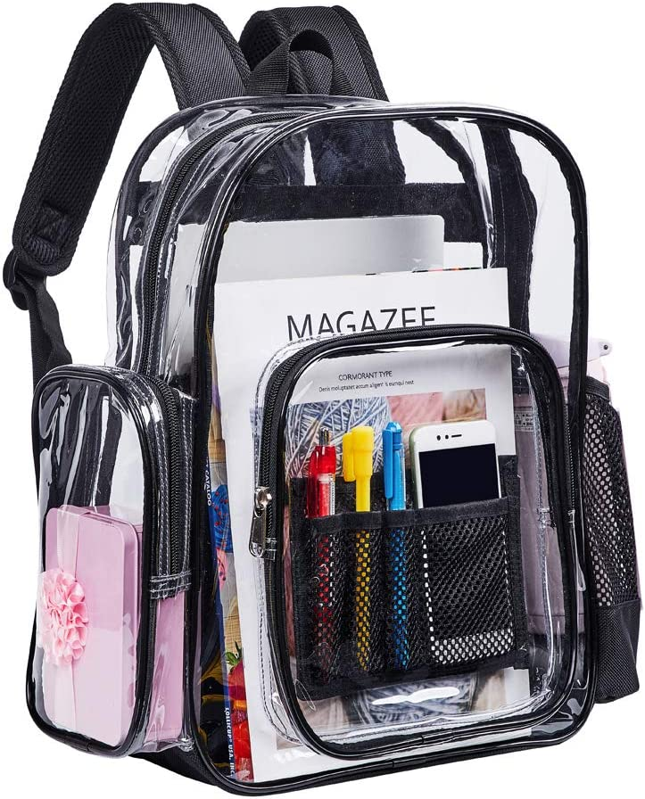 Clear Backpacks, Heavy Duty Transparent PVC Backpack, Freeze-Proof See Through Bookbag with Adjustable Straps for Work, Security Check, Sporting Events (Black)