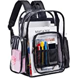 Clear Backpacks, Heavy Duty Transparent PVC School Backpack, Freeze-Proof See Through Student Bookbag with Adjustable Straps for Work, Security Check, Sporting Events (Black)