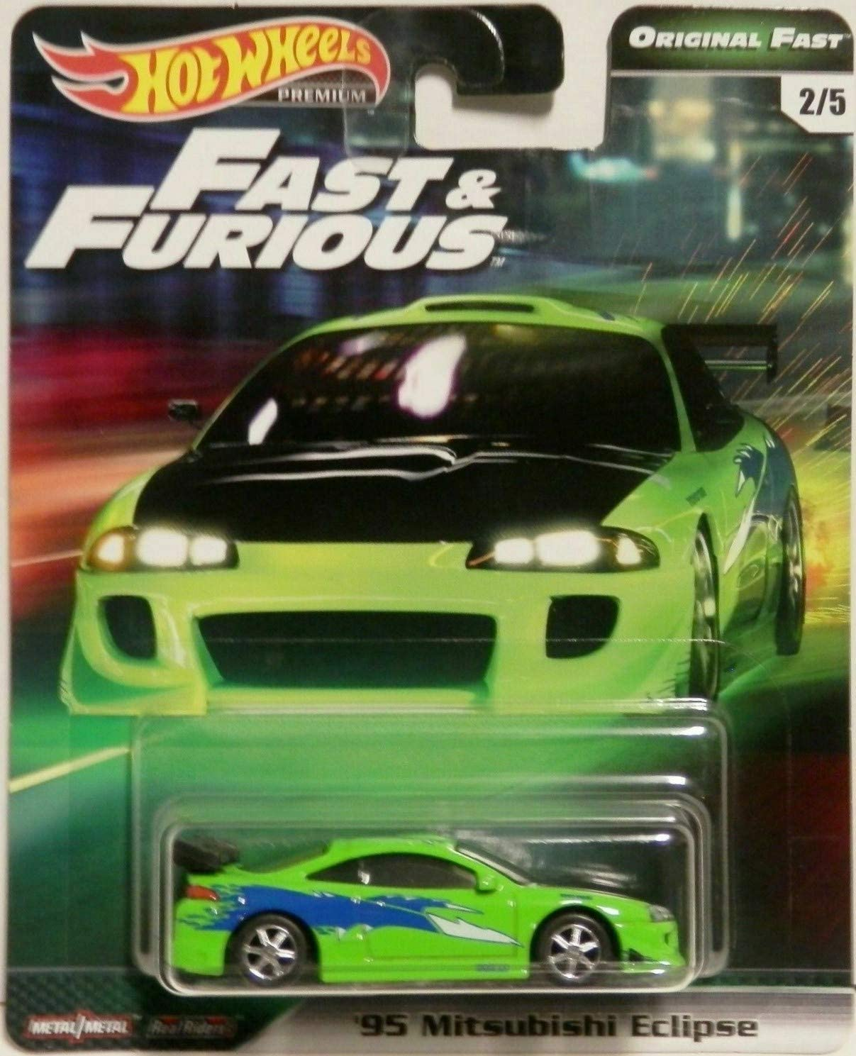 Hot Wheels Compatible '95 Mitsubishi Eclipse Green 2/5 Premium 2019 Real Riders Fast & Furious Series 1:64 Scale Collectible Die Cast Model Car