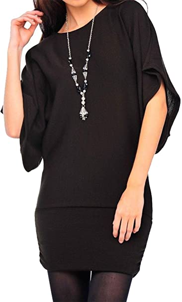 c29f44b801160 Womens Necklace Baggy Batwing Sleeve Top Ladies Plain Novelty Casual Shirt  Top (Black Batwing