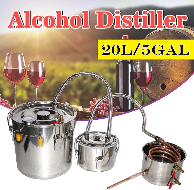 US 5 Gal Alcohol Distiller Brewing Wine Maker Water Stainless Steel Boiler Equip