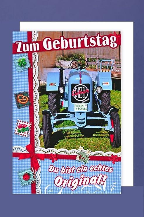 Traktor Geburtstag Karte Grusskarte Landwirt Bauer Oldtimer 16x11cm