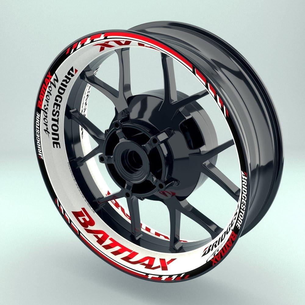 Felgenrandaufkleber Motorrad 4er Komplett-Set 17 Zoll - Felgenaufkleber Bridgestone Battlax wei/ß-rot Design 2 - gl/änzend