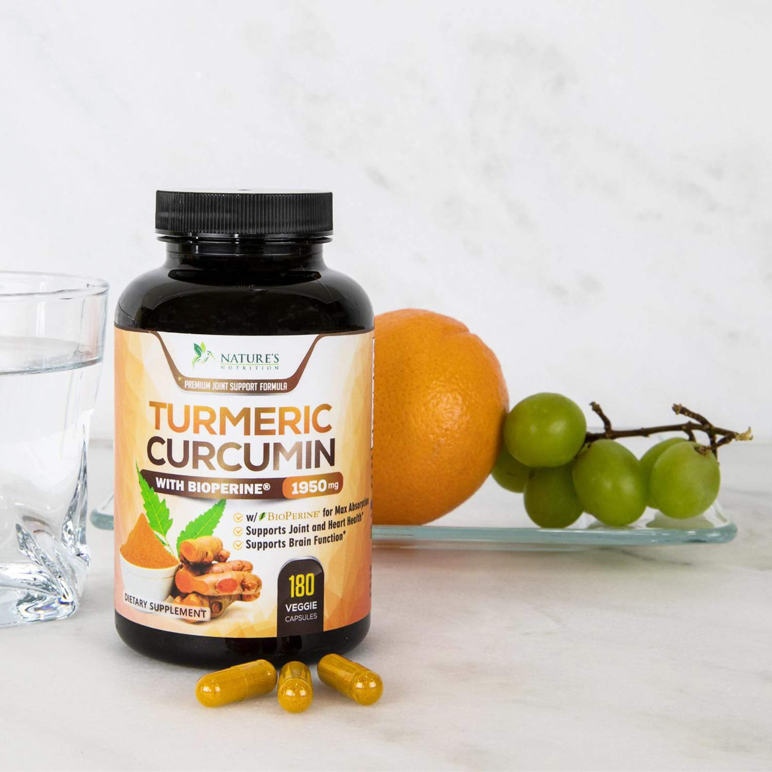 Turmeric Curcumin Max Potency 95% Curcuminoids 1950mg with Bioperine Black Pepper for Best Absorption, Anti-Inflammatory Joint Relief, Turmeric Supplement Pills by Natures Nutrition - 180 Capsules by Nature's Nutrition (Image #6)