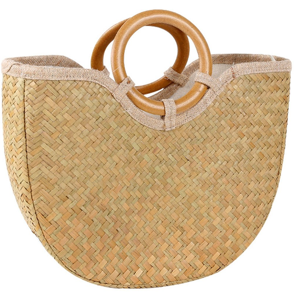 Ruier-hui Natural Straw Hand-Woven Shopper Basket With Lining Handmade Weave Retro Tote Straw Casual Summer Beach Handbags with Round Handle Ring for Daily Using/Beach Vacation/Outdoor Activities