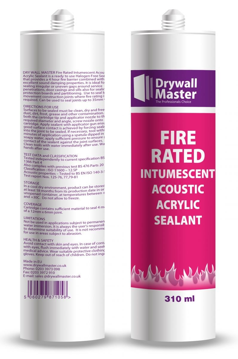 Drywall Master Fire Rated Intumescent Acoustic Acrylic Sealant 380ml - White
