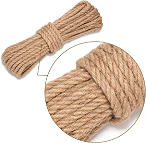 Axieso Jute Rope 50 Feet 10mm - Heavy Duty Twine Rope for Crafts - Decorative Thick Natural Craft Hemp Rope - Garden Jute String for Indoor and Outdoor Projects - Nautical Style Burlap Cord (3/8 Inch)