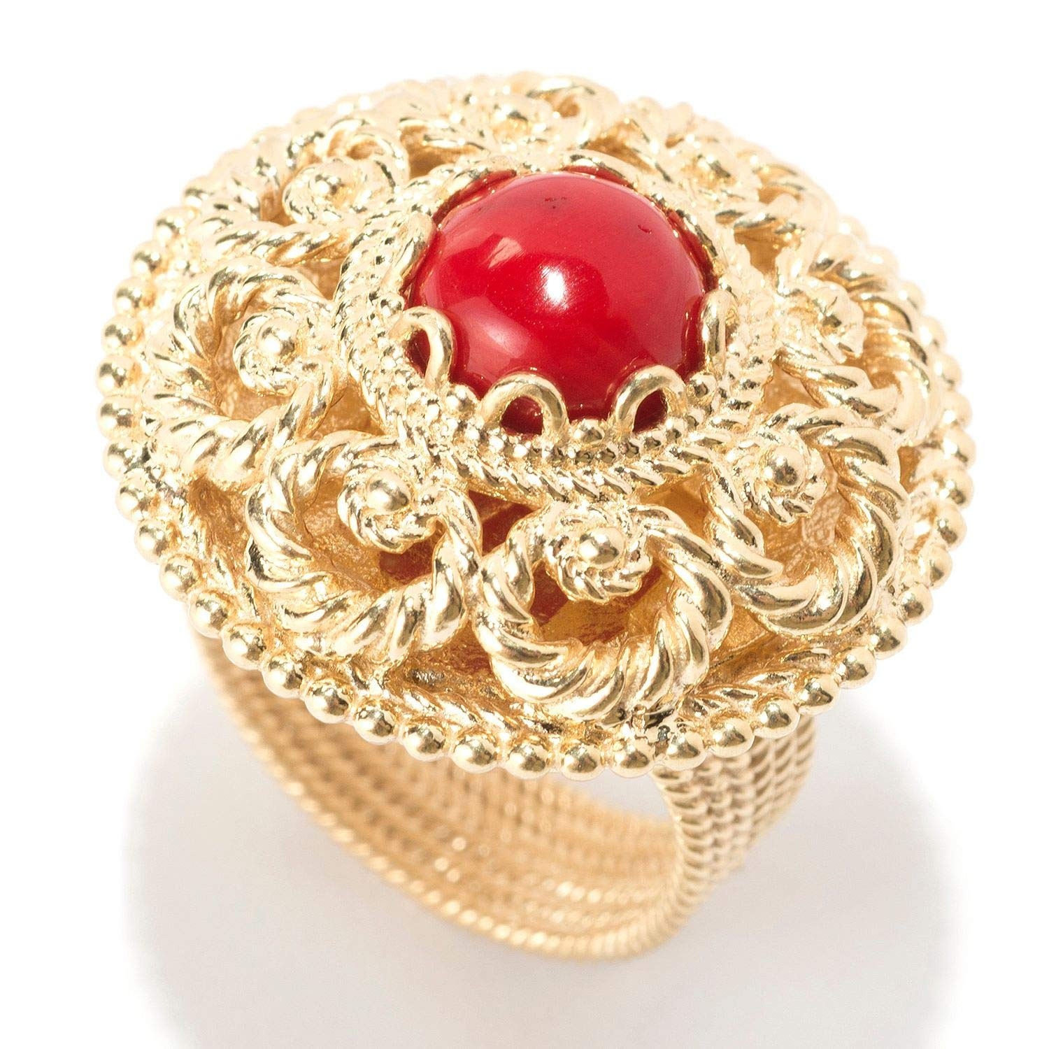 April Venus 18K Gold Plated Red Coral Gem /& Filigree Dome Ring