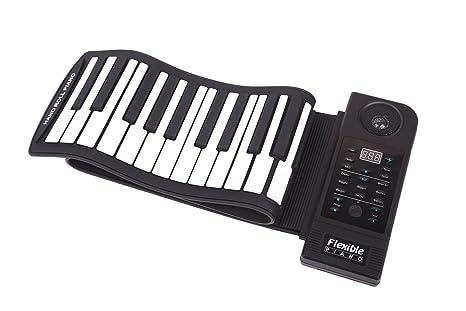 Teclado Música electrónica portátil con USB   Flexible sintetizador MIDI Piano con 61 teclas de silicona
