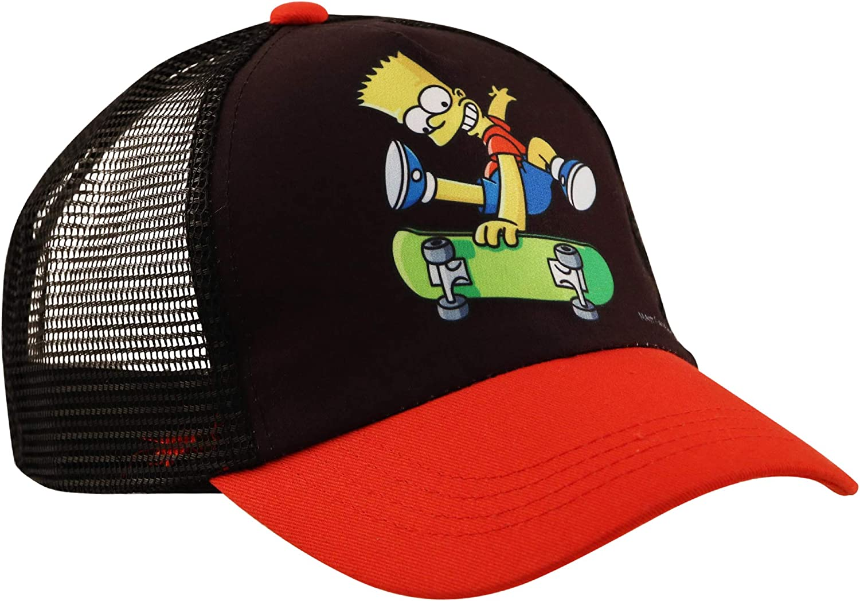 Sesame Street Kids Hat, Bart Simpsons Baseball Cap for Boys Ages, Black/Red, Age 4-7 71T1k2B75F4L