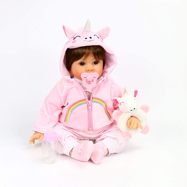 OriDoll Reborn Baby Dolls 22 inch Lifelike Soft Silicone Vinyl Real Newborn Dolls (Pink)