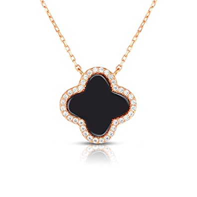 20f61e4d89 Amazon.com: Unique Royal Jewelry Sterling Silver Cubic Zirconia Four Leaf  Clover Necklace with Adjustable Length. (14K Rose Gold Plated): Jewelry
