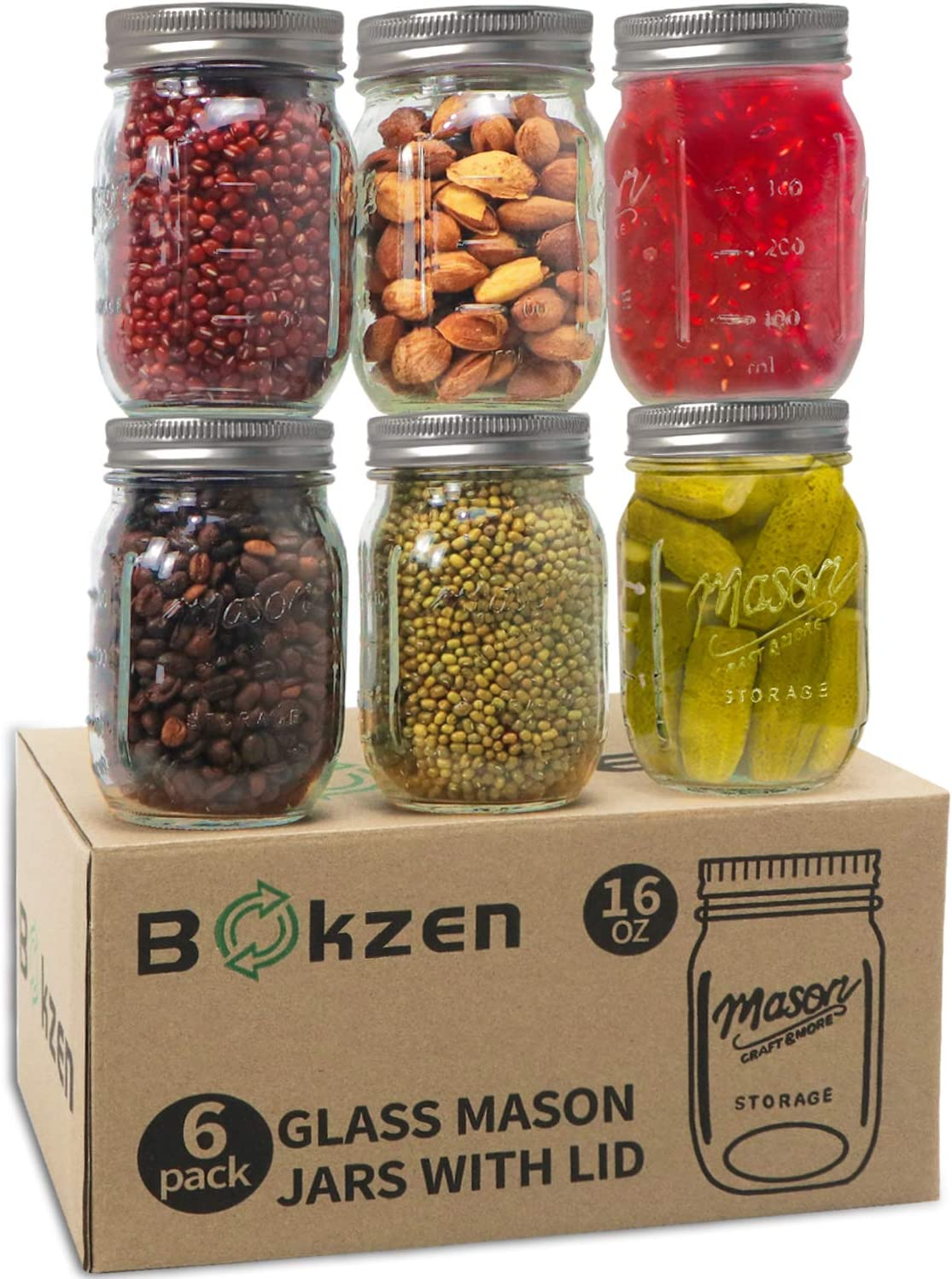 16 oz Mason Jar with Lid and Band (6 pack), Airtight Glass Regular Mouth Bulk Mason Jars for Dry Food, Baby Foods, Meal Prep, Food Storage, Canning, Salads, Spices, cookie, candy and More