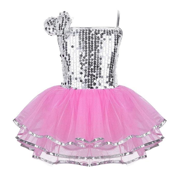 Alvivi Niñas Vestido Tutú Danza Ballet Jazz con Lentejuelas Ropa Traje de Danza Moderna Infantil Disfraces Bailarina Niña para Actuación Fiesta Chicas