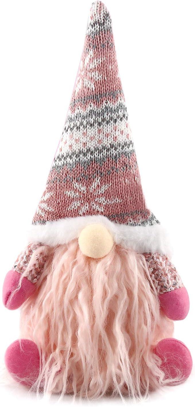 Gnomo de Navidad, Decoraciones Navideñas Gnome, Papá Noel, Muñeco de Navidad, Decoraciones para el Hogar de la Fiesta de Navidad, Peluches Enanos, Adornos Navideños Sin Rostro, 16x6x29cm(32014 Rosado)