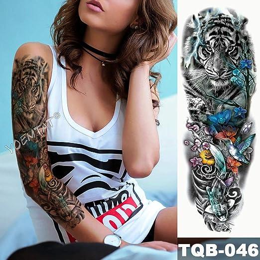 Gran Brazo Manga Tatuaje Rosa Ojos Cian ángel Impermeable Tatuaje ...