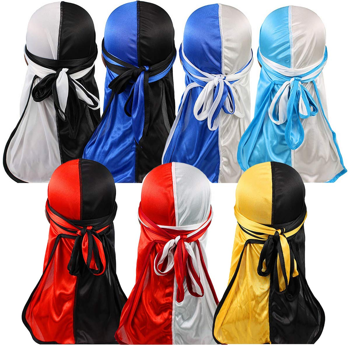 YI HENG MEI 2PCS/3PCS 360,540,720 Waves Color Block Silky Long Tail Durag Bandana Turban,Group 11(7pcs)