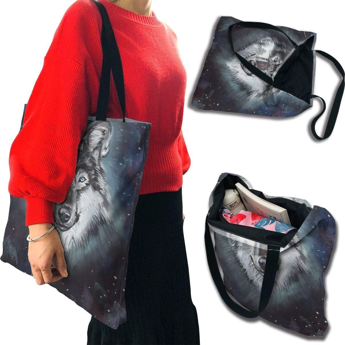PengMin Retro Starry Wolf Fashion Womens Multi-Pocket Vintage Canvas Handbags Miniature Shoulder Bags Totes Purses Shopping Bags