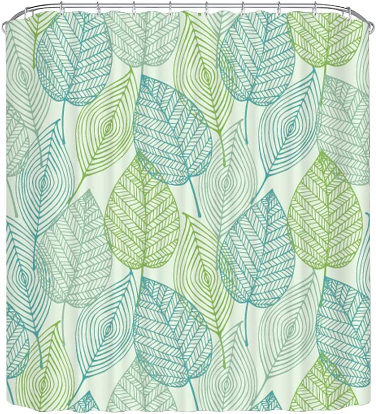 Home Queen Leaves Printed Shower Curtain, Waterproof Polyester Fabric Leaf Printed Bathroom Curtain with Weighted Rubber at The Bottom, 71 X 71 Inch, Green
