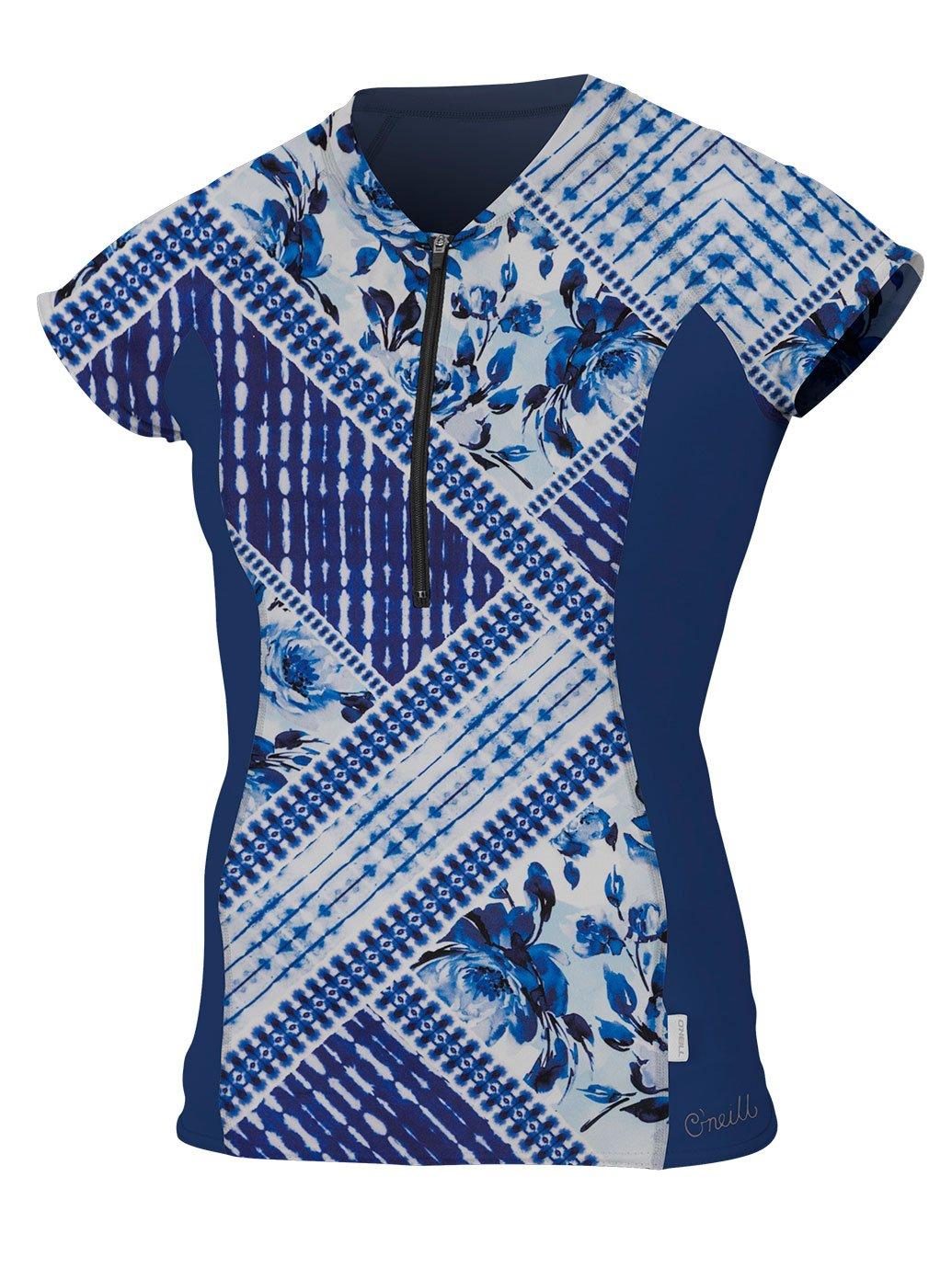 O'Neill Women's Cap Sleeve Sun Shirt Front Zip Indigo Patch/Navy Small