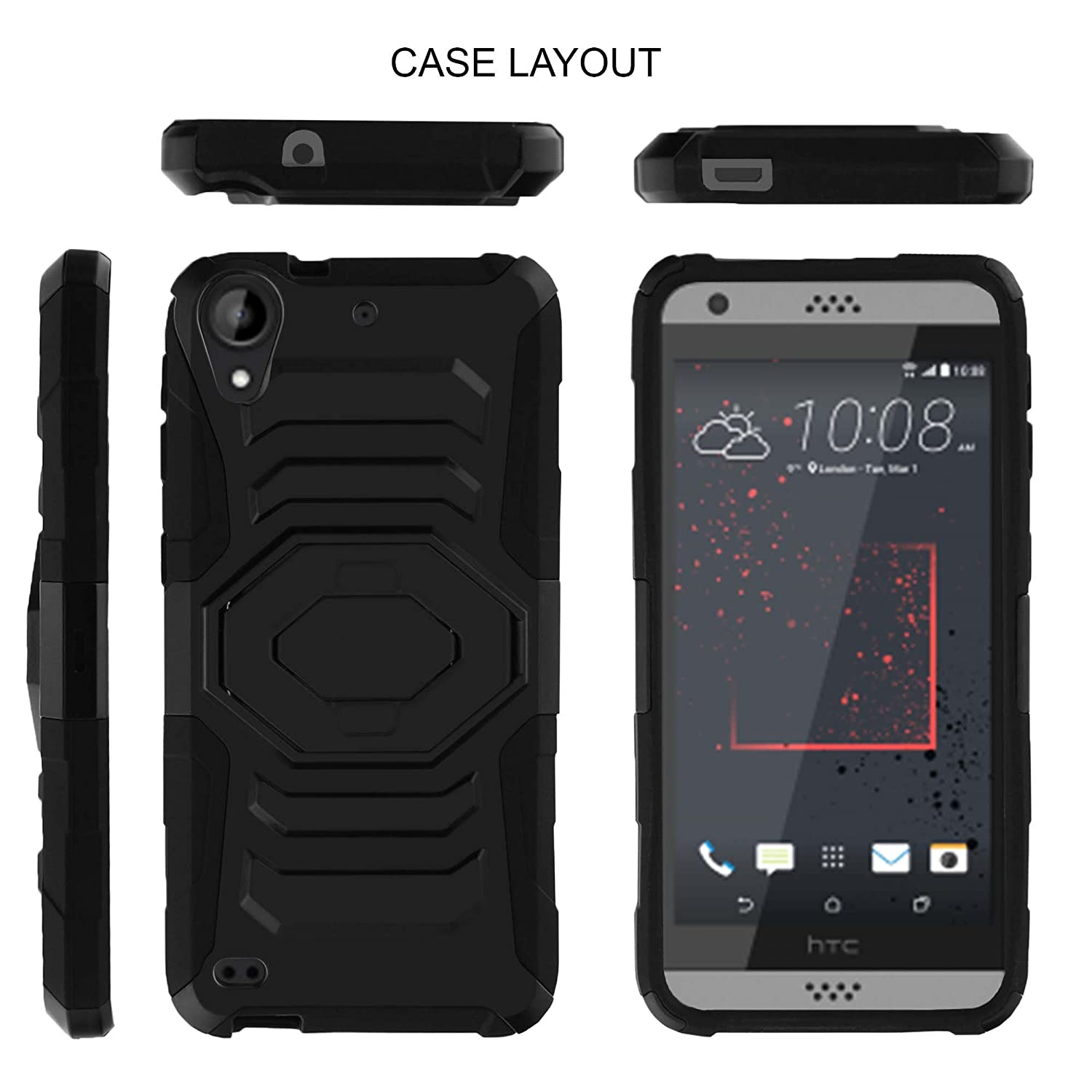 official photos 1a788 eb769 HTC Desire 530 Case, HTC Desire 630 | HTC Desire 650 Case [Armor Reloaded]  Holster Combo + Rugged Impact Resistant + Kickstand by Miniturtle - Big ...