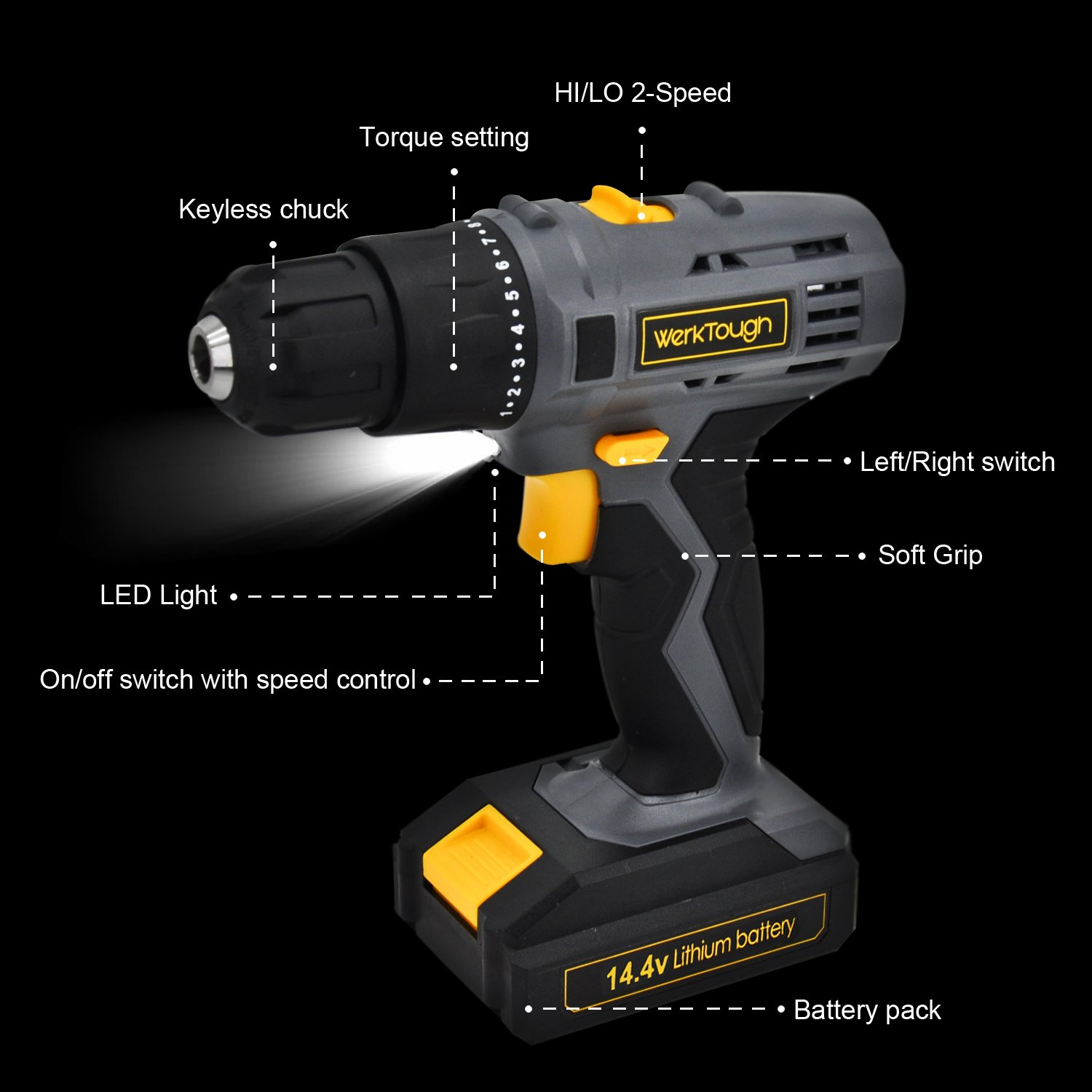 Werktough D018 14.4V Cordless Drill Driver 2 viable speed Powerful Screwdriver Lion Battery