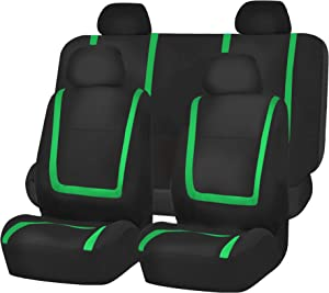 FH Group FB032GREEN114 Green Unique Flat Cloth Car Seat Cover (w. 4 Detachable Headrests and Solid Bench)