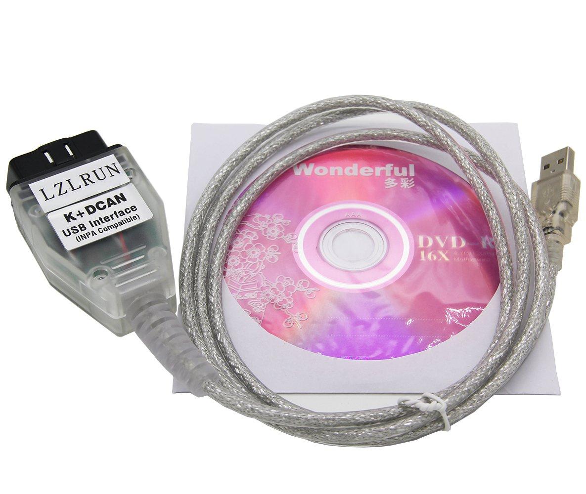 LZLRUN INPA K+CAN K+DCAN Car Diagnostic Tool Cable OBD USB Interface for BMW R56 E87 E93 E70
