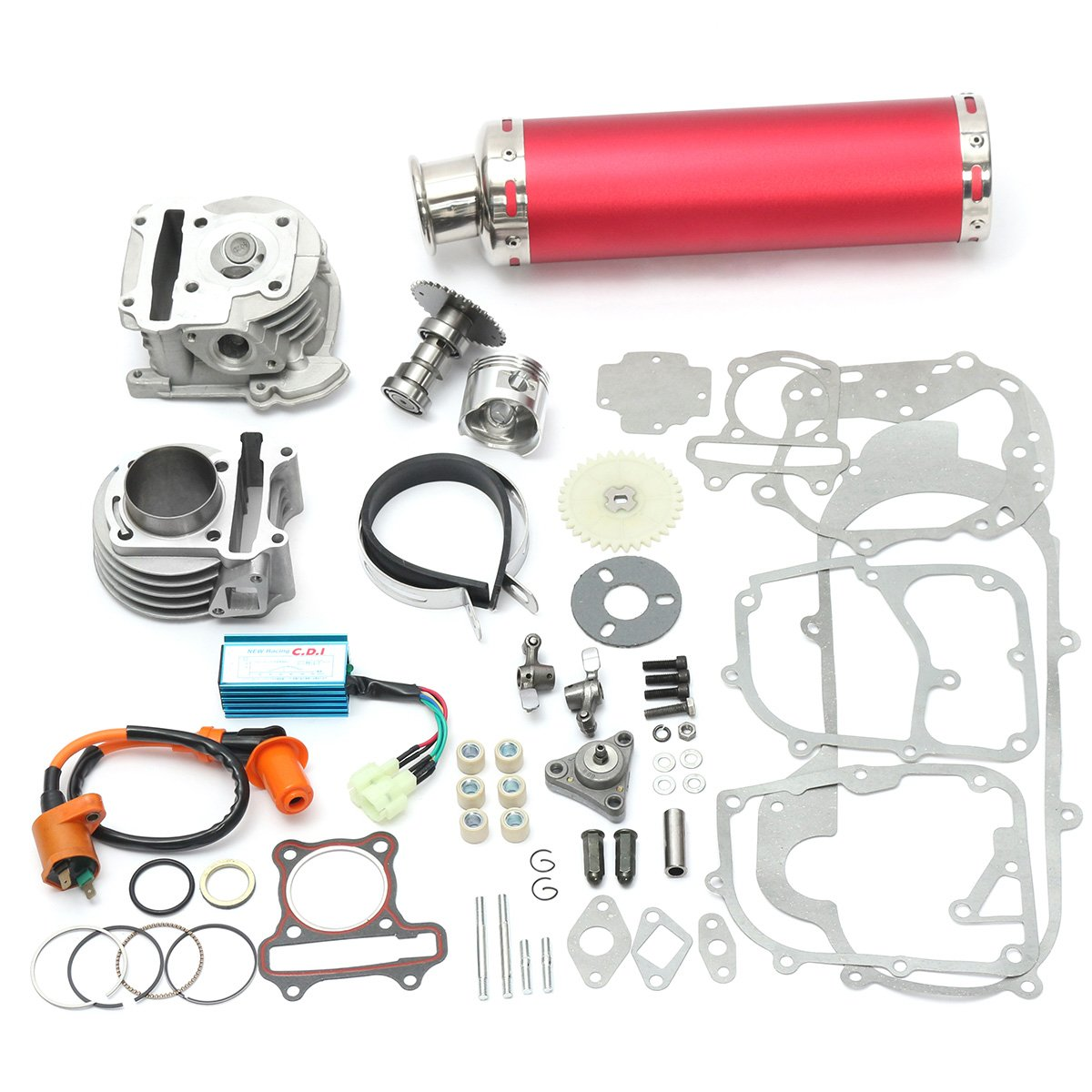 NeDonald 100cc 50mm Chinese Scooter Big Bore Exhaust Performance Kit Power Pack GY6 50cc