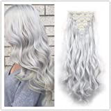 Clip in Hair Synthetic Hair Extensions Curly Wavy Natural Silver Gray Hair 8 Pcs for Women