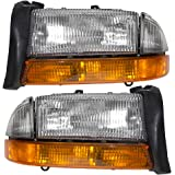 Driver and Passenger Composite Headlights Headlamps with Park Signal Lamp Replacement for Dodge Pickup SUV 55055111AI 55055110AI