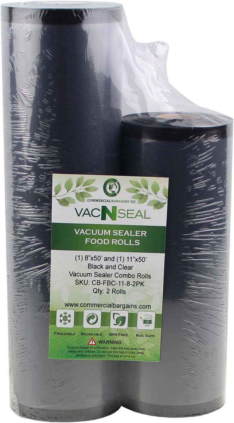 """Commercial Bargains 11"""" x 50' and 8"""" x 50' Black and Clear Commercial Vacuum Sealer Food Storage Rolls"""