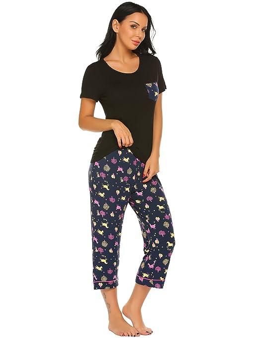 62ea5b32e Ekouaer Women s Pajama Set Short Sleeve T Shirt with Capris Pants Print  Loungewear Sets S-XXL at Amazon Women s Clothing store
