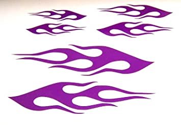 Amazoncom Flame Vinyl Decal Bike Gas Tank Helmet Stickers Purple - Bike vinyl stickers