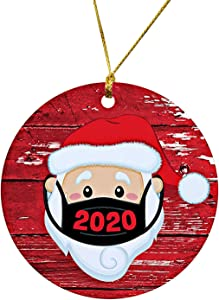 YZHI 2020 Christmas Ornament Quarantine Santa Christmas Tree Ornaments Christmas Decor Ceramic Xmas Gifts (Red)