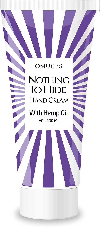 La crema de manos ecológica Nothing To Hide de Omuci con aceite de cáñamo. Apta para veganos, ingredientes 100% naturales. Para hidratar sus manos, codos, rodillas, talones y otras zonas ásperas.