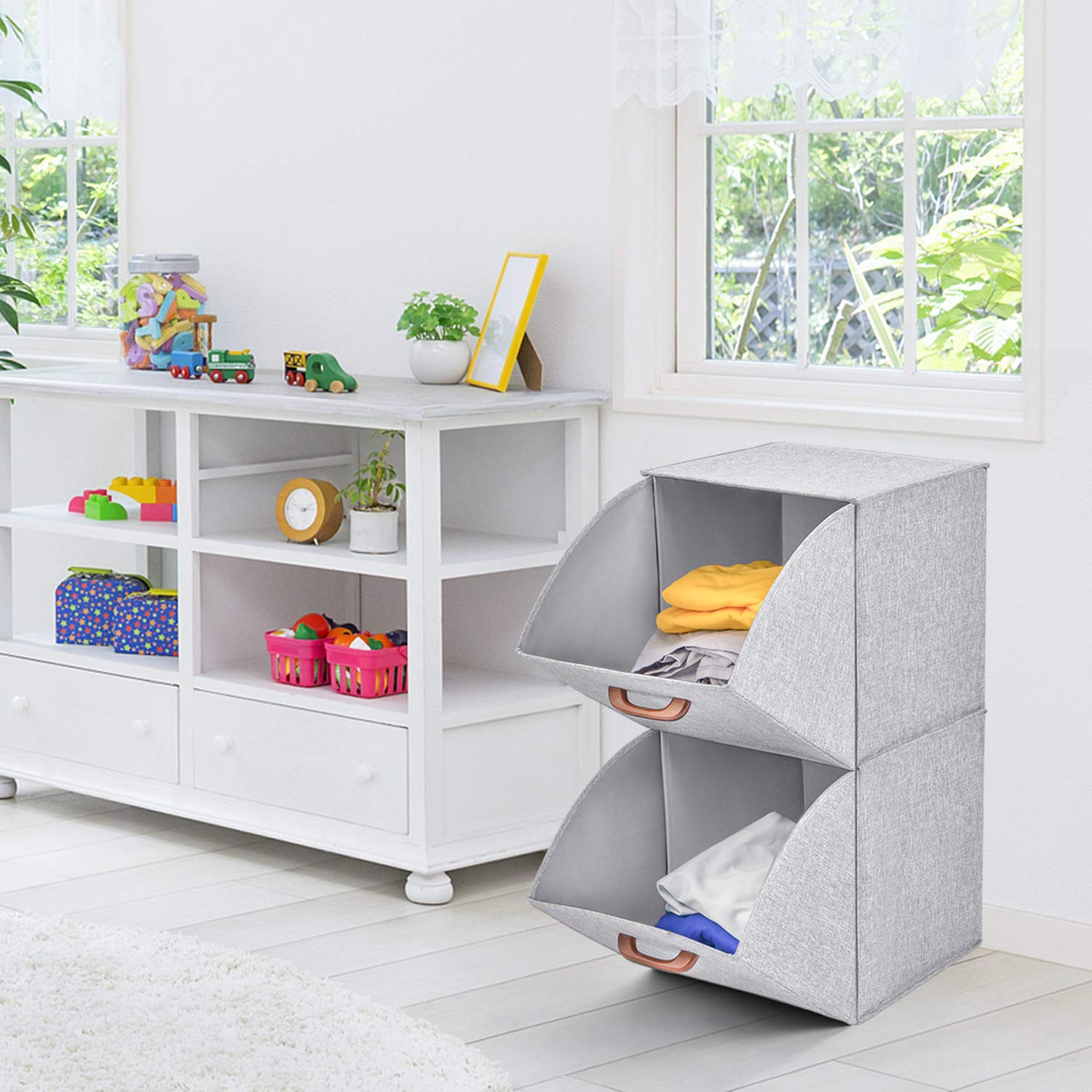 MaidMAX 2-Tier Collapsible Storage Organizer Pull-Down Doors with 2 Wooden Handles for Closet Grey 903134 Fabric Cube Bins Free Standing Home /& Office
